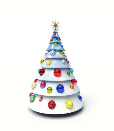 Christmas tree, Christmas baubles. 3d render illustration
