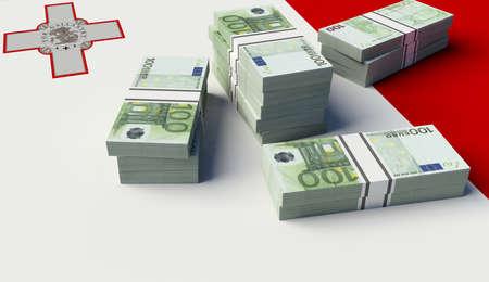 Stack of money on the Malta Flag. 3D illustration