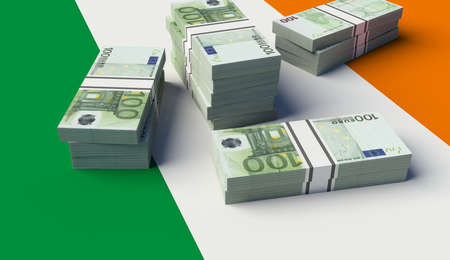 Stack of money on the Irland Flag. 3D illustration 스톡 콘텐츠
