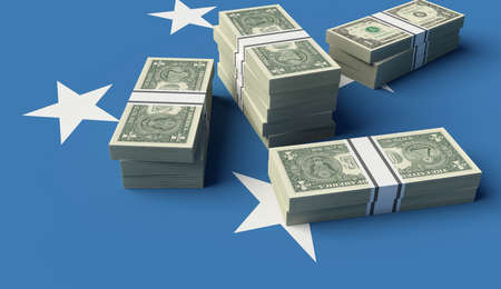 Stack of money on the Micronesia Flag. 3D illustration 스톡 콘텐츠