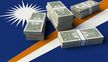 Stack of money on the Marshall Islands Flag. 3D illustration