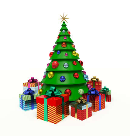 Christmas tree, Christmas baubles, gift boxes. 3d render illustration