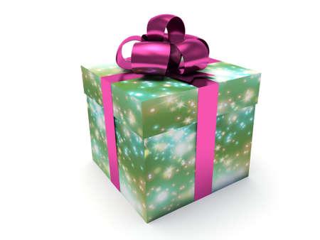 Christmas gift box. 3d render illustration