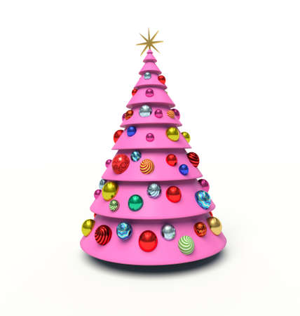 Christmas tree, Christmas baubles. 3d render illustration