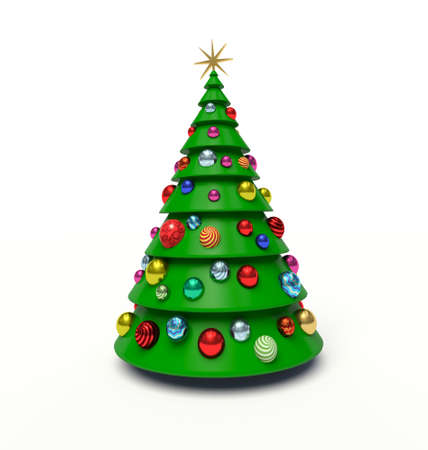 Christmas tree, Christmas baubles. 3d render illustration Фото со стока - 62948746