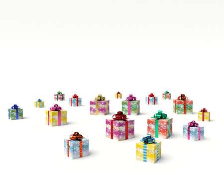 Christmas gift boxes. 3d render illustration