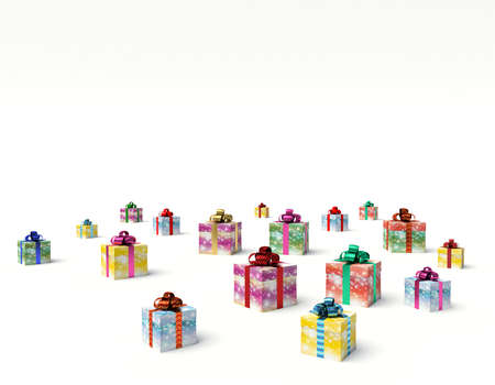 Christmas gift boxes. 3d render illustration