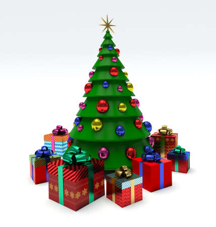 Christmas tree, Christmas baubles, gift boxes. 3d render illustration Фото со стока - 62948748