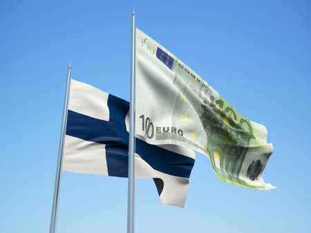 Finland and euro Banknote flags waving in the wind. 3d illustration.