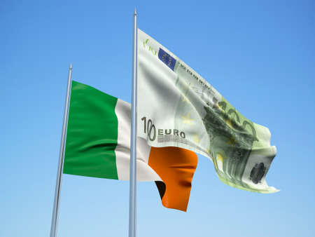irish pride: Ireland and euro Banknote flags waving in the wind. 3d illustration.
