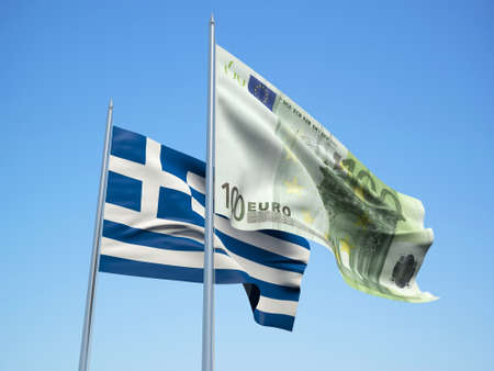 Greece and euro Banknote flags waving in the wind. 3d illustration.