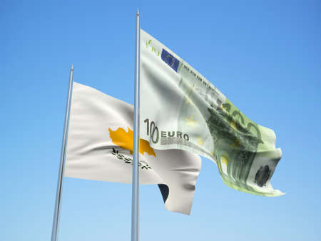 Cyprus and euro Banknote flags waving in the wind. 3d illustration. Фото со стока