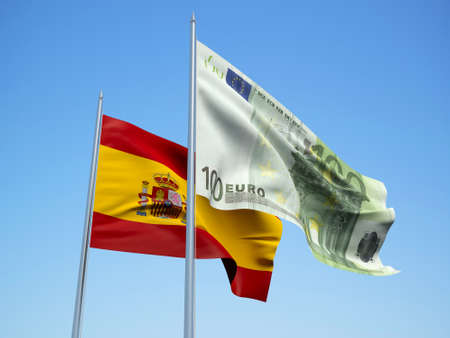 Spain and euro Banknote flags waving in the wind. 3d illustration.