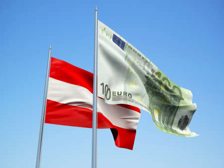 Austria and Euro Banknote flags waving in the wind. 3d illustration.