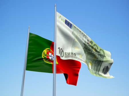 Portugal and Euro Banknote flags waving in the wind. 3d illustration.