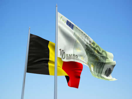 Belgium and Euro Banknote flags waving in the wind. 3d illustration. Фото со стока