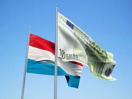 Luxembourg and euro Banknote flags waving in the wind. 3d illustration. Фото со стока