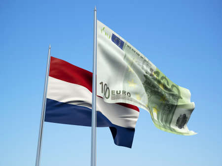 Netherlands and Euro Banknote flags waving in the wind. 3d illustration.