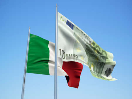 Italy and Euro Banknote flags waving in the wind. 3d illustration.