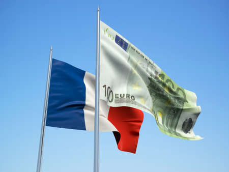 France and Euro Banknote flags waving in the wind with a blue sky background. 3d illustration 스톡 콘텐츠