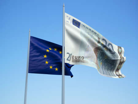 European Union and euro Banknote flags waving in the wind. 3d illustration.