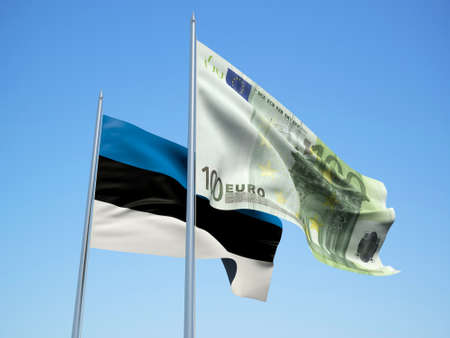 Estonia and euro Banknote flags waving in the wind. 3d illustration.