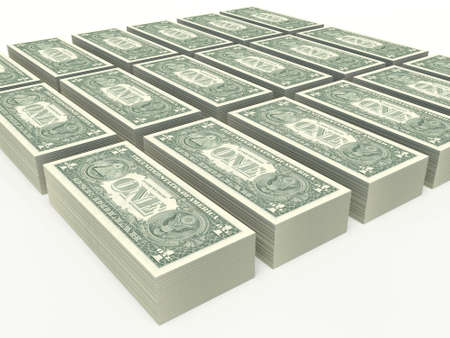 one American dollar bills. notes stacked on a white background