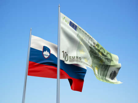slovakia and Euro Banknote flags waving in the wind. 3d illustration. Фото со стока