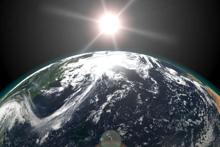 Earth view from outer space, Sun in the Background. 3d render illustration. Elements of this image furnished by NASA. Stock Photo