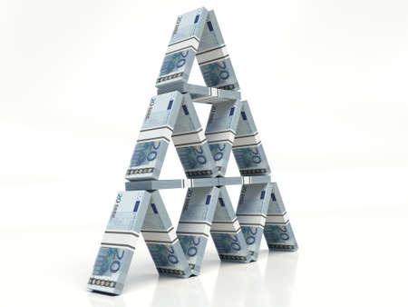 twenty euro banknote stacked, House of cards concept. on a white background