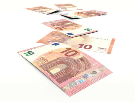ten euro banknote on white background