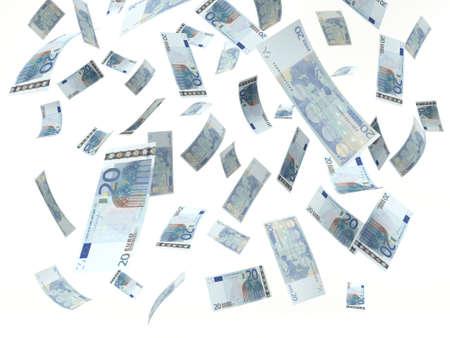 banconote euro: Banconota da venti euro, che cade su uno sfondo bianco. illustrazione 3D Archivio Fotografico