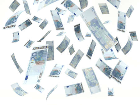 twenty euro banknote, falling on a white background. 3D illustration Фото со стока
