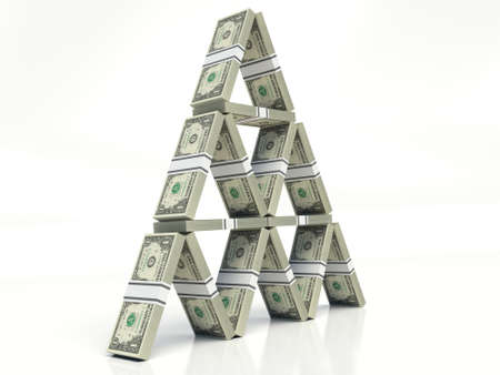 one American dollar bills. House of cards concept. notes stacked on a white background