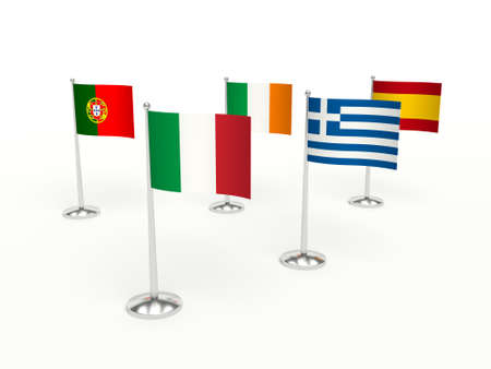 crisis economica: THE PIGS COUNTRIES, financial economic crisis. Flags countries. 3d illustration.