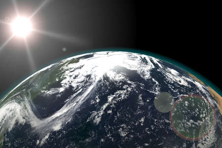 Earth view from outer space, Sun in the Background. 3d render illustration. Elements of this image furnished by NASA. 스톡 콘텐츠