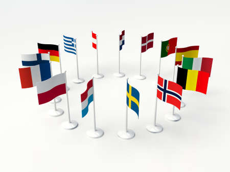 European countries. Flags small countries in a circle. 3d illustration on a white background.