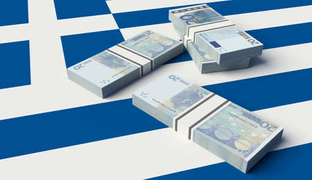Stack of money on the Greek Flag. 3D illustration