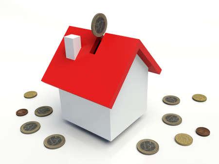 House coin box, Euros. 3D illustration.