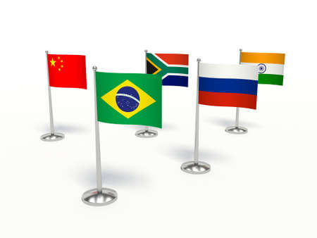 BRICS economics. Flags small countries. 3d illustration on a white background.