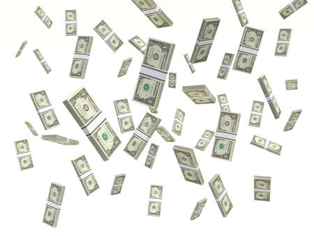 one American dollar bills Stacks falling on a white background
