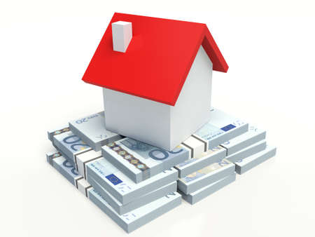 House on a stack of euros. 3D illustration.