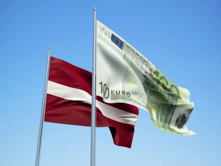 Latvia and euro Banknote flags waving in the wind. 3d illustration. Stock Photo