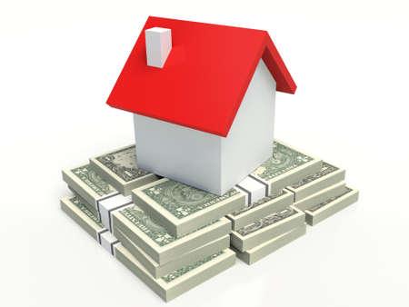 realestate: House on a stack of U.S. dollars. 3D illustration.