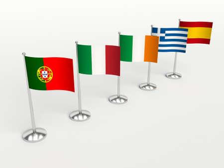 crisis economica: Los cerdos PAÍSES, crisis económica financiera. Banderas pequeñas. 3d ilustración sobre un fondo blanco.