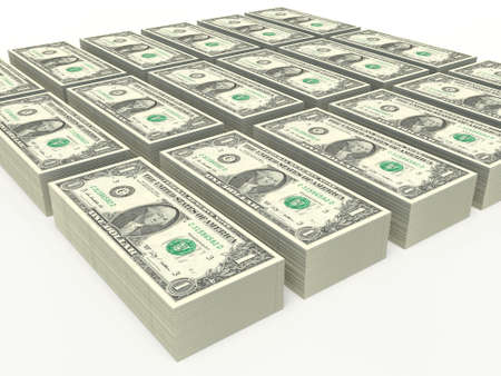 american dollar: one American dollar bills. stacked notes on a white background