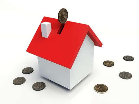 coin box: House coin box, Dollar coin. 3D illustration. Stock Photo
