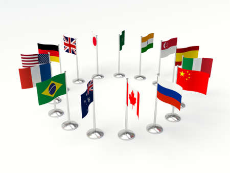 nations: Flags small countries in a circle. 3d illustration on a white background.