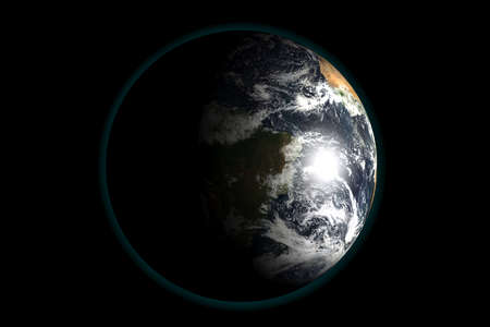 Earth view from outer space. 3d render illustration.