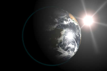 Earth view from outer space, Sun in the Background. 3d render illustration.